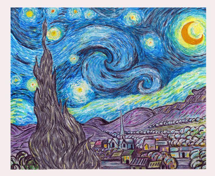 Van Gogh Starry Night Oil Pastels Sterrennacht