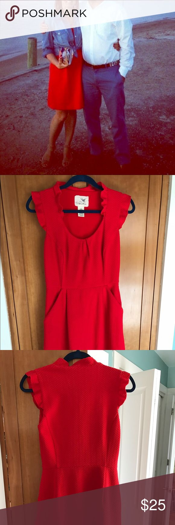 Red waffle weave dress Vibrant red, so comfortable, pockets! Tabitha Dresses