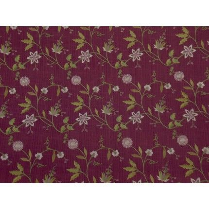 Voyage Avena plum floral cotton curtain fabric <br />Images on screen cannot do the quality of this material justice. To see it fully please order a sample.