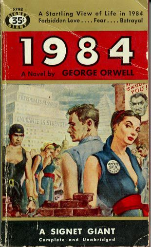 1984 (1949) by George Orwell. 1956 cover. | Vintage Science Fiction Book Covers | Classic, Retro, & Pulp Sci-Fi Art