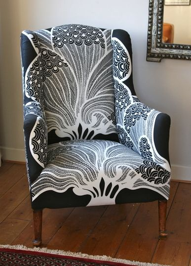 Love the stunning design on this re-upholstered chair - want it!