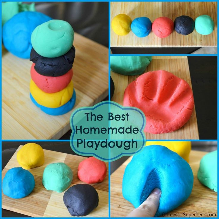 The Best Homemade Playdough Recipe....made this with my six year old neighbor. Felt really good! Kept its shape. Wasn't sticky. Didn't discolor our hands when we used it. My teenaged daughter was also impressed! We didn't have glycerin, but it was just fine...even without the extra shine. Pots seemed gunky but cleaned up super easily with hot water...Dayna Added 9 mos. later: I've kept the play dough in a zip loc bag in the pantry. It's STILL soft and malleable!!!...Dayna