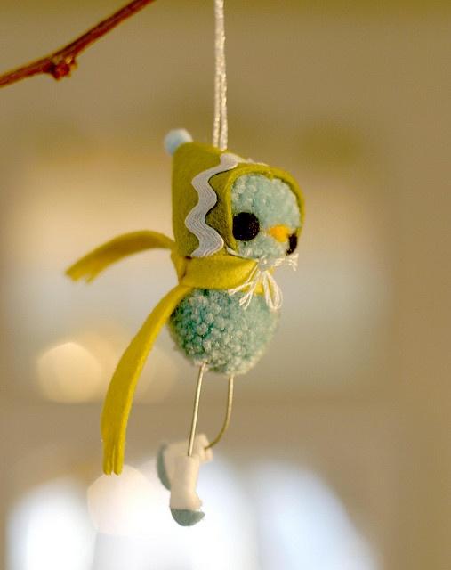 adorable pom pom birdie ornament
