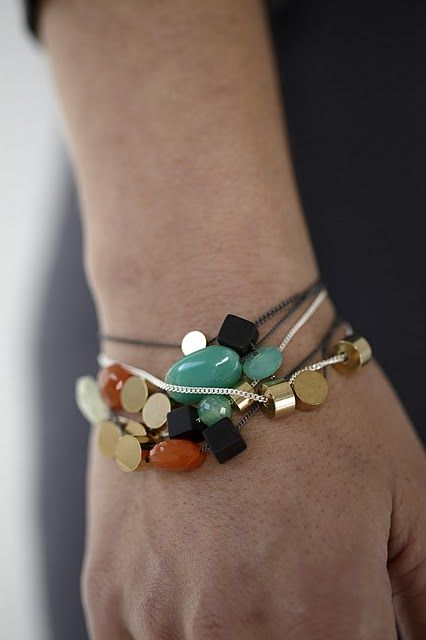 Hand made brass beads with semi precious stones on bracelets.