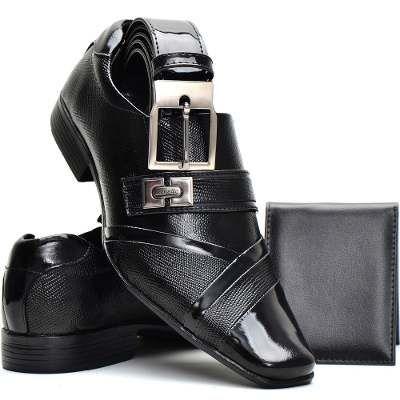 Sapato Social Masculino Couro Envernizado Kit Cinto+carteira - R$ 119,99