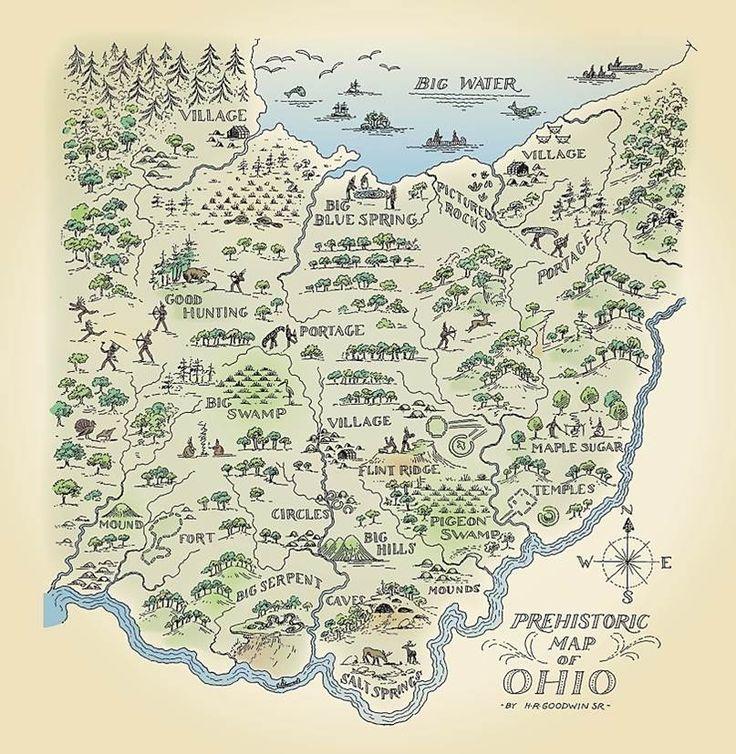 Prehistoric Map of Ohio now in glorious technicolor!