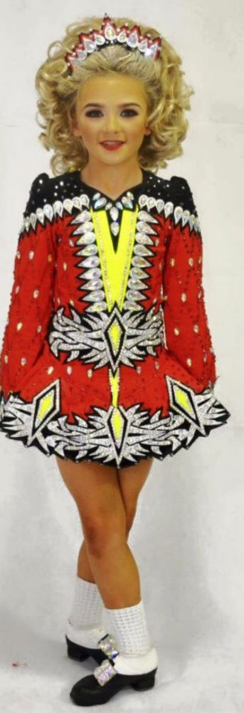 Brilliant Red Chantelle Byrne Irish Dance Dress Solo Costume For Sale