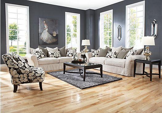 Shop for a cindy crawford home grandview loft linen 7 pc living room at rooms to go find living for Rooms to go cindy crawford living room