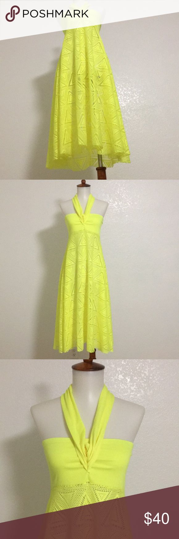 One dress. Unlimited ways halter dress. The all in one multi halter dress. Crochet neon yellow dress. New with tag. Size available: Medium and Large LAGACI Dresses Midi