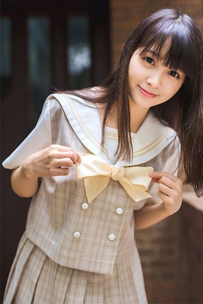 teamlala オリジナル 関東衿 ライト茶色 チェック柄 セーラー服 大きいサイズ JK女子高生短袖 通学後衣装 ダブルボタン仕様学生服 2本ラインセーラー制服