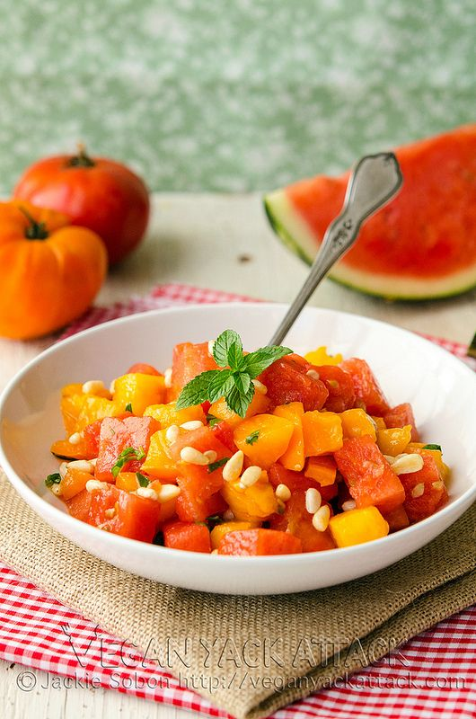 Refreshing Watermelon Tomato Salad (raw, vegan)