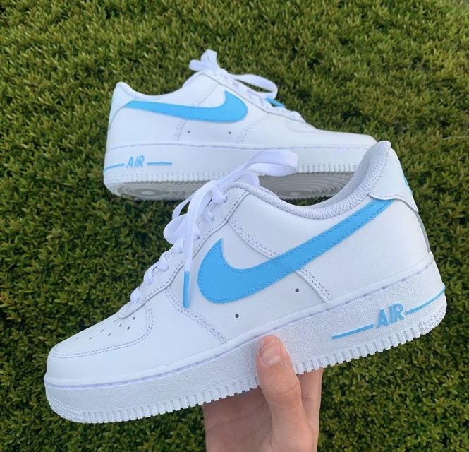 Sky Blue Swoosh Nike Shoes Air Force Air Force One Shoes Nike Air Shoes