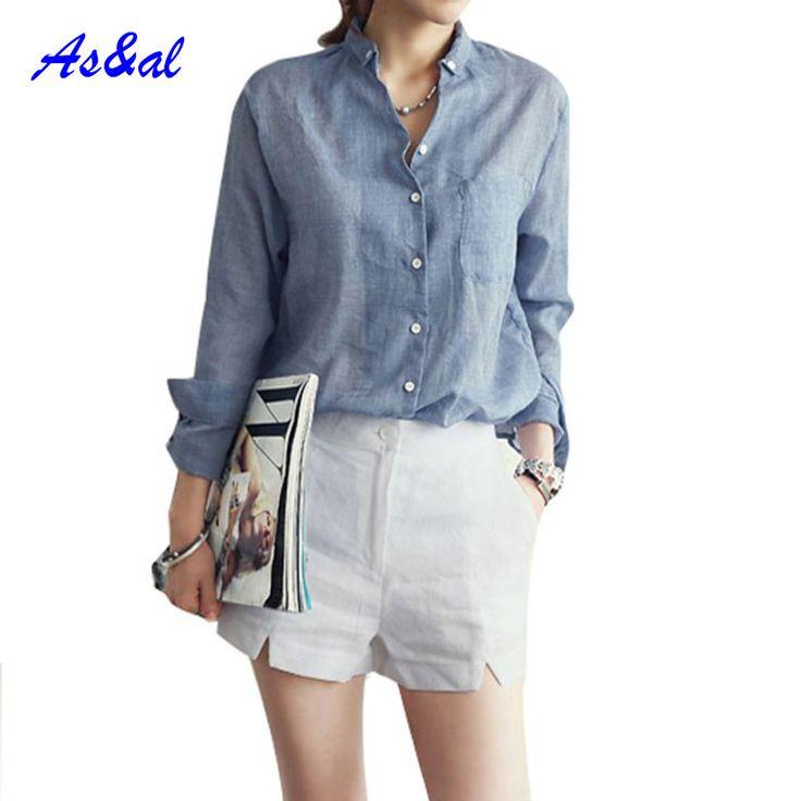 Women Slim Long Sleeve Autumn Shirts Button Down Shirt OL Blouses Cotton Hot
