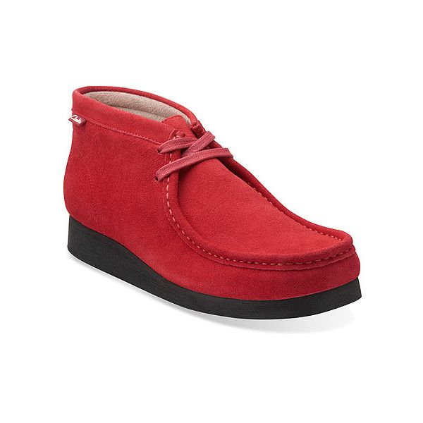 Clarks Stinson Hi Boots ($110) ❤ liked on Polyvore featuring men's fashion, men's shoes, men's boots, boots, cherry red suede, men, mens suede moccasins, mens moccasins, mens suede ankle boots and mens moccasin boots