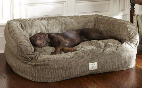 Orvis Lounger Deep Dish Dog Bed / Large Dogs 60-120 Lbs., Herringbone,