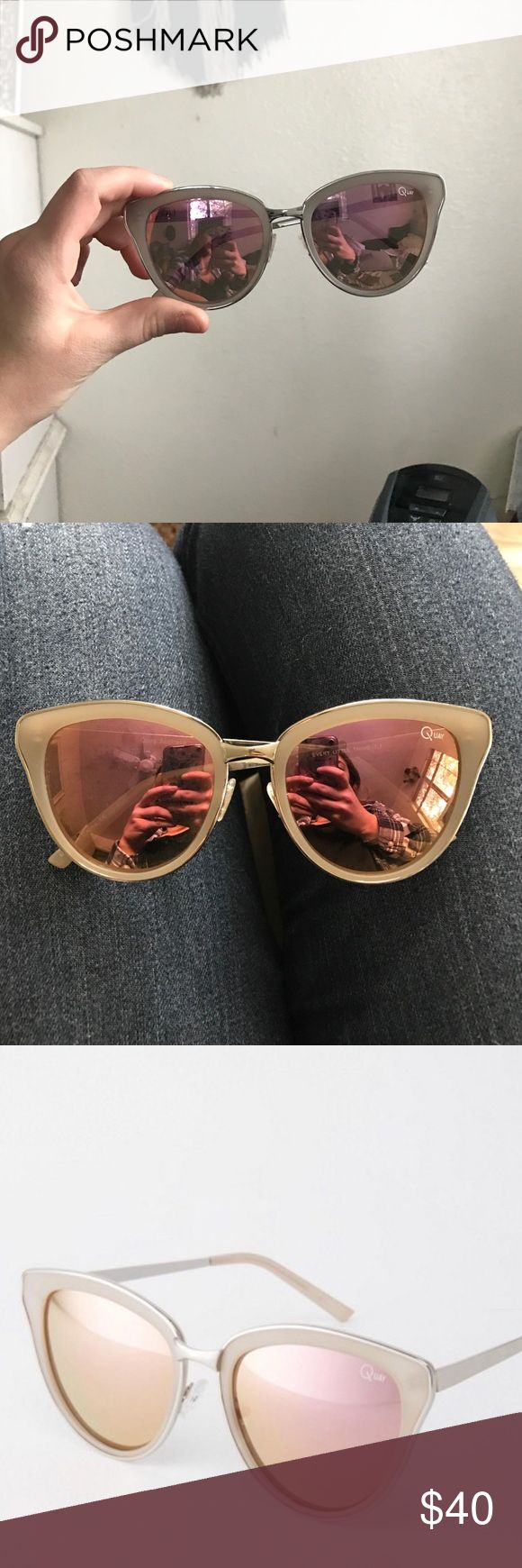 Quay pink Australian sunglasses Pink mirrored sunglasses with gray and silver frame Quay Australia Accessories Sunglasses