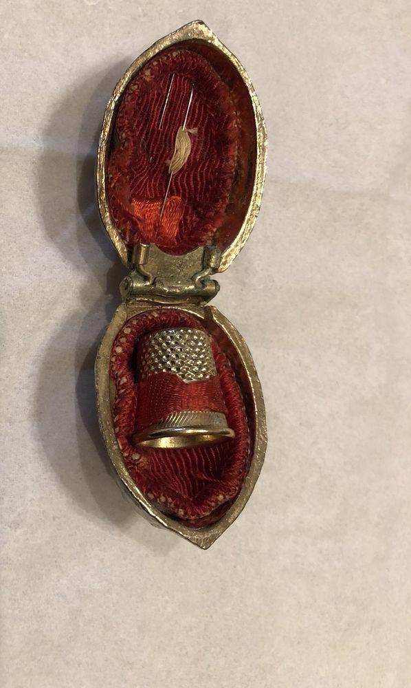 Antique Brass or Gold Tone Walnut Thimble Thread Holder Sewing Kit | eBay