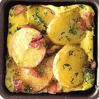 Recept - Aardappelschijfjes met spek en ei - Allerhande