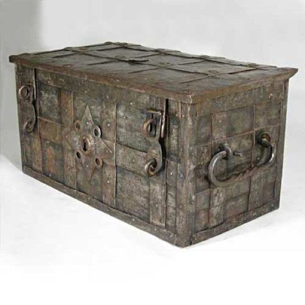 German Nuremberg Steel And Wrought Iron Strong Box 17th