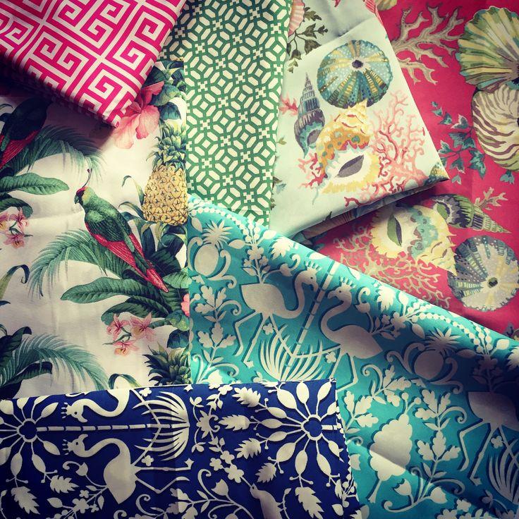 Parrots Flamingos Shells - tropical outdoor fabric @pineapple-lane 🌺 pineapple-lane.de
