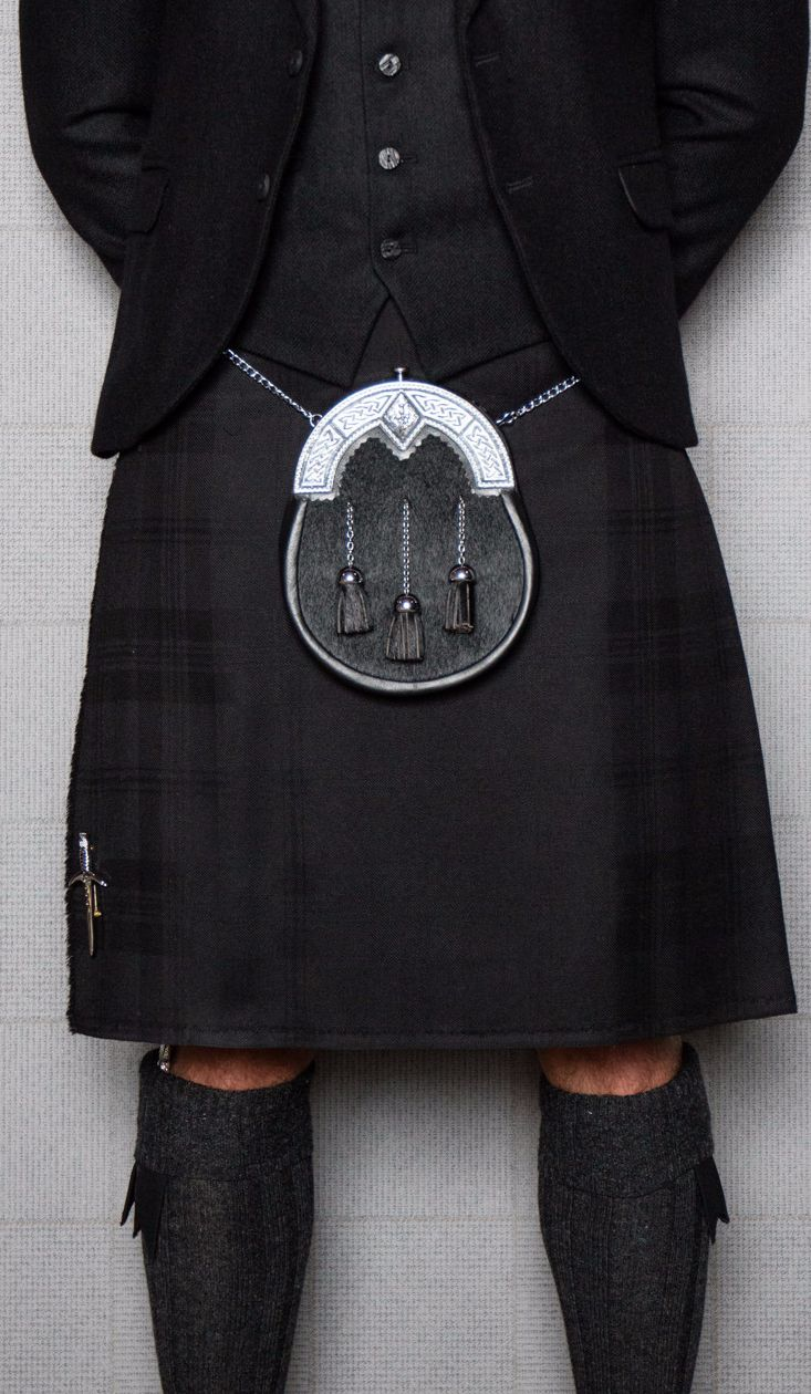 If you want to keep it simple and sophisticated, consider the Dark Island tartan. The grey and black combination in the kilt create a truly contemporary but formal look.