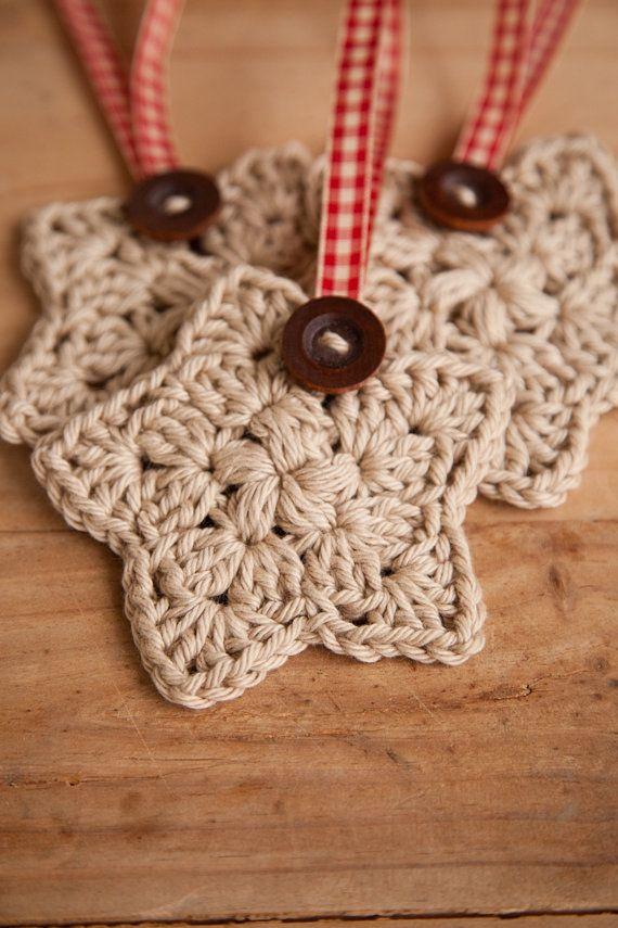 Crochet Christmas Star, Set of 3, Christmas Ornament, Holiday Decor, Decoration, Tan, Wood Button, Plaid Red Ribbon, MadeTo Order