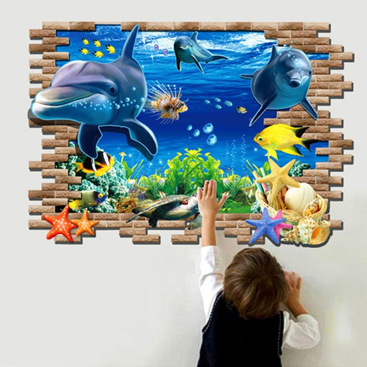 3D Dolphin Sea Wall Sticker //Price: $17.50 & FREE Shipping //     #DIY