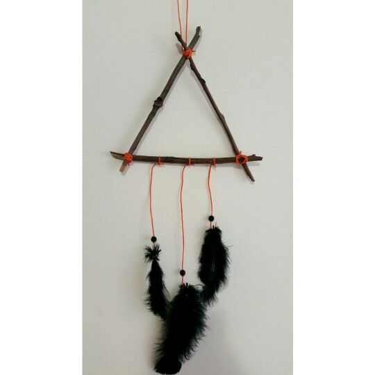 Triangle stick mobile baby nursery black and orange