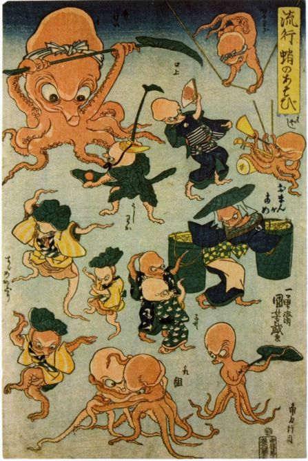 itwonlast: Hokusai and Hiroshige are household names but it's all about Kuniyoshi. Octopus Games, woodblock print by Utagawa Kuniyoshi (1840-1842)