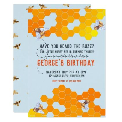 Bumble Bee Themed Birthday Party Card