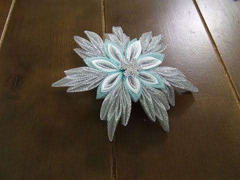 Заколка для волос Новогодняя СНЕЖИНКА из ткани и атласных лент в стиле канзаши - YouTube