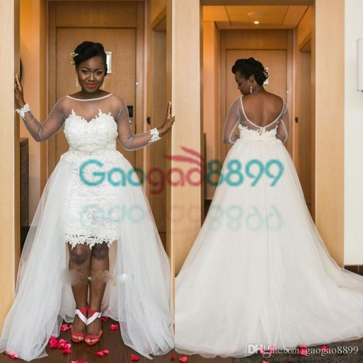 Illusion Long Sleeve High Low Beach Wedding Dresses With Detachable Train 2017 Backless Sexy African Short Lace Tulle Bridal Wedding Gowns Buy Dresses Online Debenhams Wedding Dresses From Gaogao8899, $122.62| Dhgate.Com