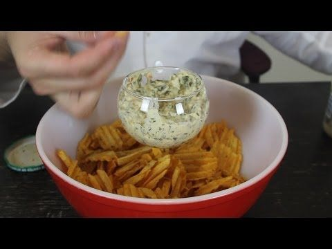 the easy way to do chips and dip with this awesome idea. Just put a wine glass in the middle of the bowl
