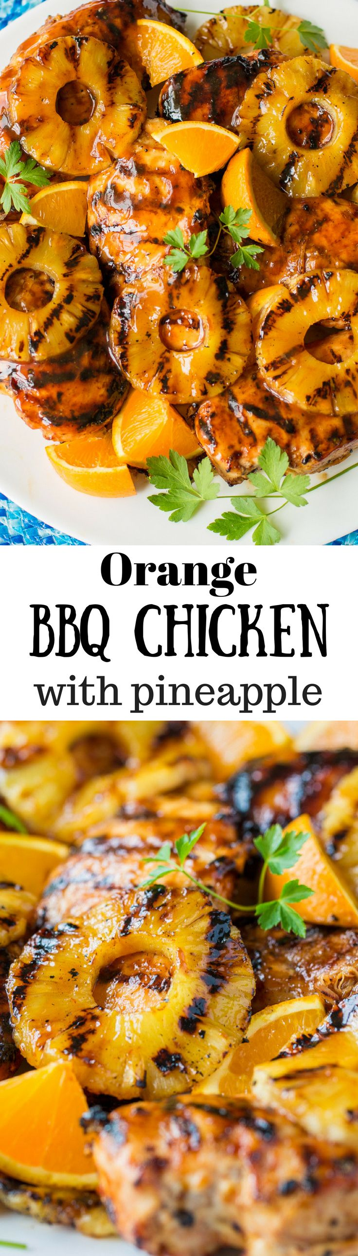 Fresh off the grill!    This Orange Barbecue Grilled Chicken Recipe is deliciously different and a breeze to throw together in a flash.  We love the bright orange flavor and the hint of ginger and pineapple juice in the sauce.  It's lip smacking good!