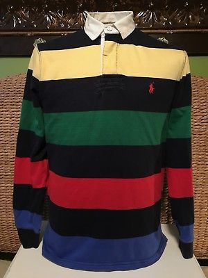49ee8662 Ralph Lauren Polo Mens Medium Striped Rugby Shirt Color Block VTG L/S  Custom Fit