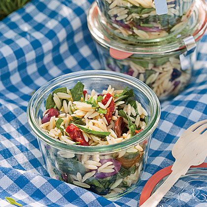 This herb vinaigrette-dressed pasta salad keeps better than a mayo-based one from the deli–and tastes better too.