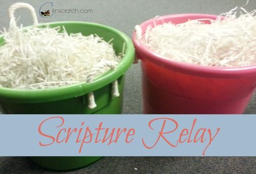 Shredded Paper plus Scriptures= Fun Scripture Relay Race to match verses with key words