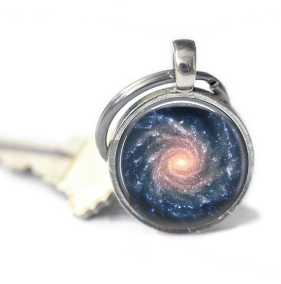 Spiral Galaxy Key Chain Galaxy Key Ring by MissingPiecesStudio