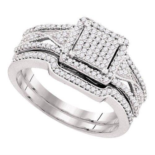 10kt White Gold Womens Diamond Cluster Bridal Wedding Engagement Ring Band Set 3 8 Engagement Ring Wedding Band Wedding Rings Engagement Diamond Wedding Bands