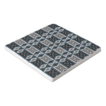 Teal Blue Gray Black Eclectic Ethnic Look Trivet - patterns pattern special unique design gift idea diy