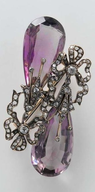 Brooch made of two amethyst earrings, Portugal?, 19th century