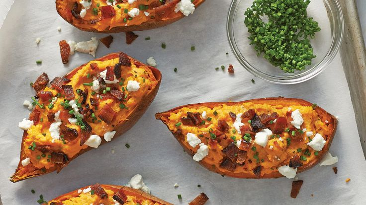 Maple Bacon & Goat Cheese Stuffed Sweet Potatoes