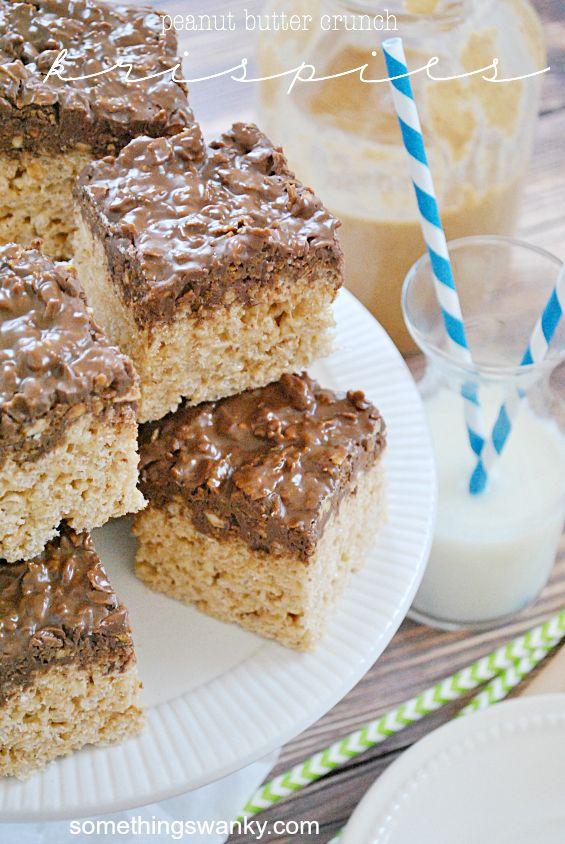 Peanut Butter Crunch Rice Krispies Treats   www.somethingswanky.com