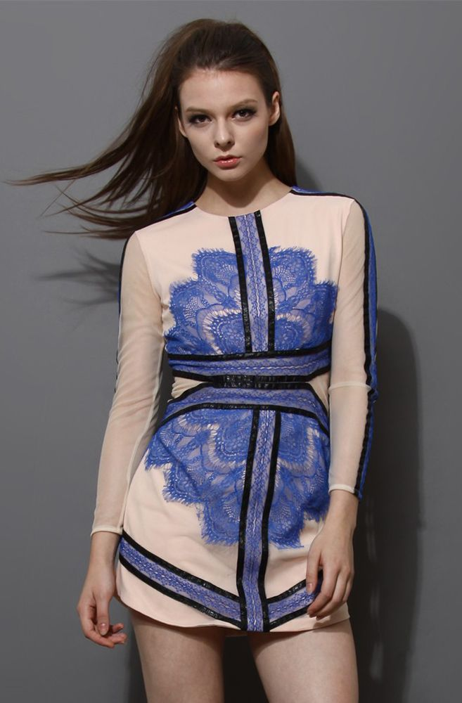 Blue Long Sleeve Contrast Eyelash Lace Mesh Pencil Dress - Sheinside.com