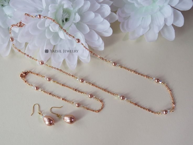 Rose Gold Chain Necklace, Bracelet & Earrings Set: Rose Gold Pearl Bridal Jewelry Set, Wedding Gift Set by YaesilJewelry on Etsy
