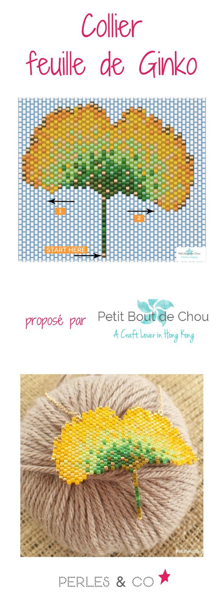 La feuille de ginko possède une forme très particulière. A la fois graphique et poétique, le ginko est une belle feuille aux tonalités vertes et jaunes lors de l'automne. Estelle du blog Petit Bout de Chou s'en est inspirée pour réaliser un collier avec une feuille de ginko tissée avec la technique du brick stitch. Si vous aimez le ginko et les perles Miyuki Delicas, ce tutoriel est fait pour vous! Vous apprendrez à réaliser différents points techniques du brick stitch.