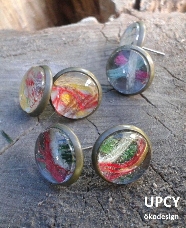 Üveglencse fülbevaló fonal továbbhasznosítás - glass dome earring upcycled yarn