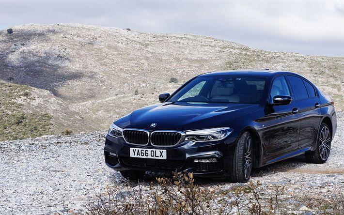 壁紙をダウンロードする BMW5シリーズ, 4k, offroad, G30, 2017車, ドイツ車, 黒BMW