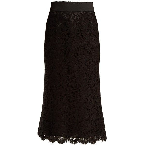 Dolce & Gabbana Cordonetto-lace pencil skirt ($1,195) ❤ liked on Polyvore featuring skirts, black, high-waist skirt, pencil skirt, high waisted skirt, floral-print pencil skirts and high-waisted skirt
