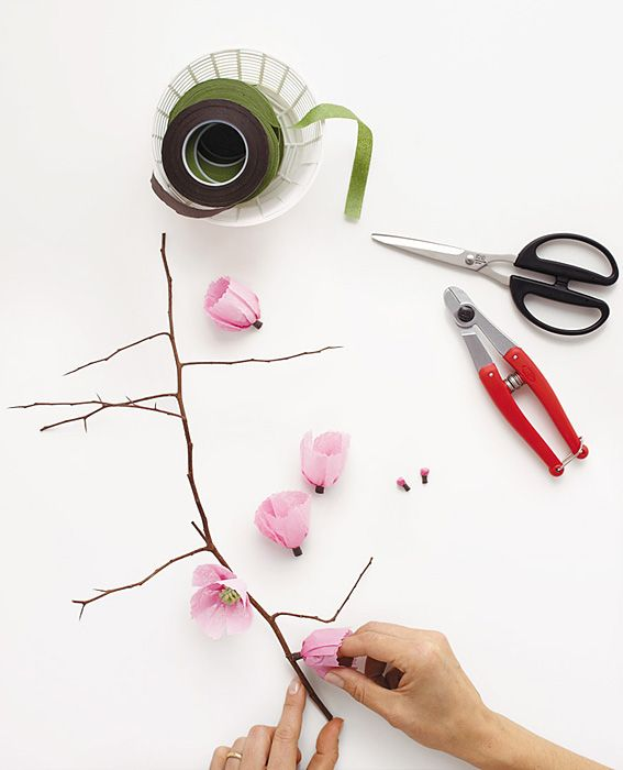 Make It Yourself: A Spring Arrangement of Paper Cherry Blossoms - Step 8: Finish Attaching Blooms from #InStyle